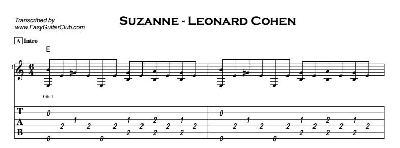 Leonard Cohen - Suzanne Tab