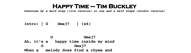 Tim Buckley – Happy Time Chords & Songsheet
