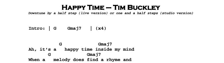Tim Buckley – Happy Time Chords & Songsheet