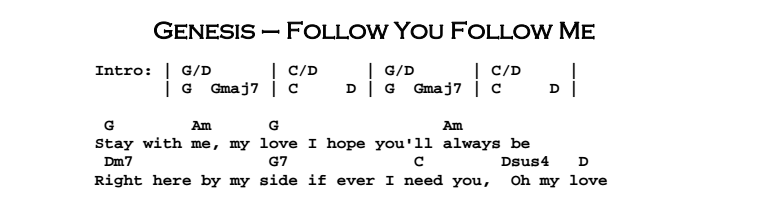Genesis - Follow You Follow Me Chords & Songsheet