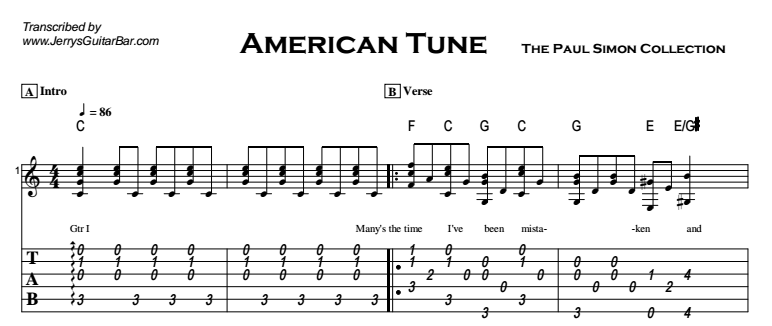 Paul Simon - American Tune Tab