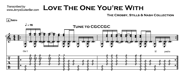 Crosby, Stills & Nash - Love The One You're With Tab