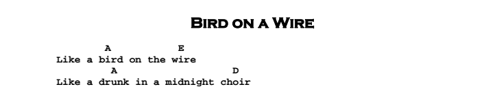 Leonard Cohen - Bird on a Wire Chords & Songsheet