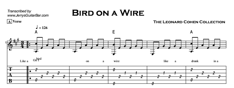 Leonard Cohen - Bird on a Wire Tab