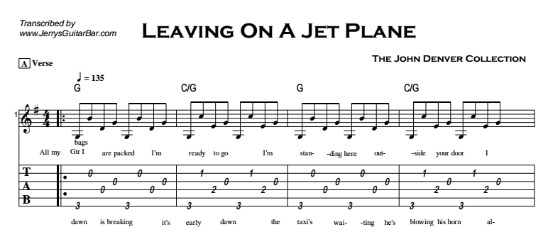 John Denver - Leaving On a Jet Plane Tab