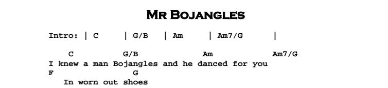 Jerry Jeff Walker - Mr Bojangles Chords & Songsheet