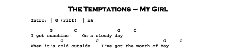The Temptations - My Girl Chords & Songsheet