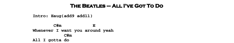 Beatles - All I've Got To Do Chords & Songsheet