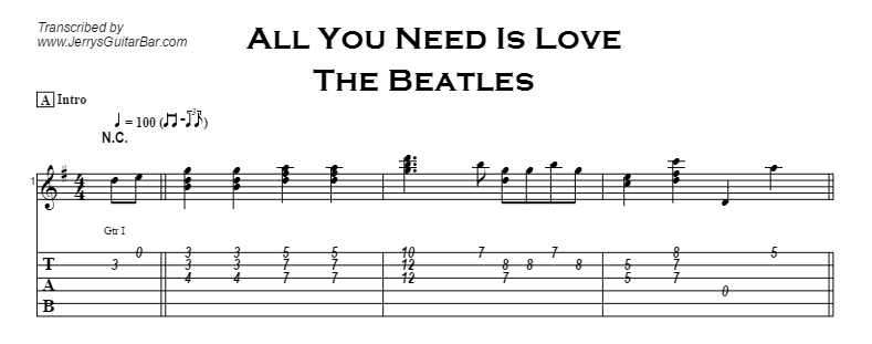 Beatles - All You Need Is Love Tab