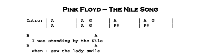 Pink Floyd - The Nile Song Chords & Songsheet