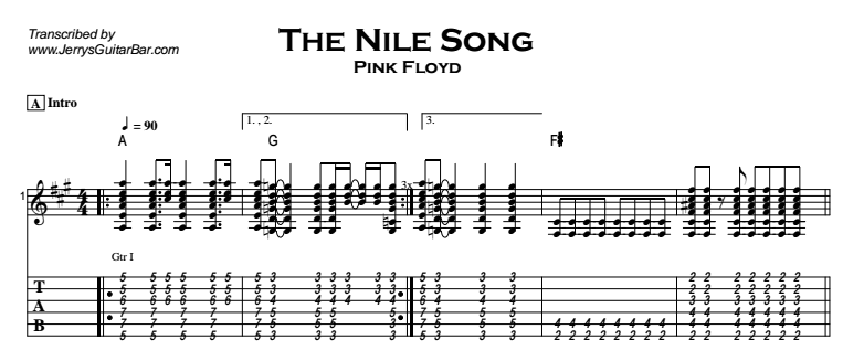Pink Floyd - The Nile Song Tab