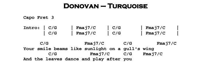 Donovan - Turquoise Chords & Songsheet