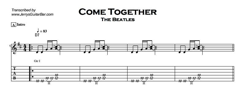 Beatles - Come Together Tab