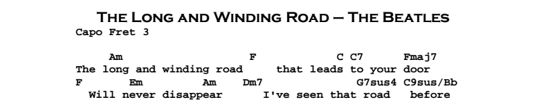 Beatles - The Lond And Winding Road Songsheet & Chords