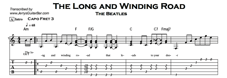 Beatles - The Lond And Winding Road Tab