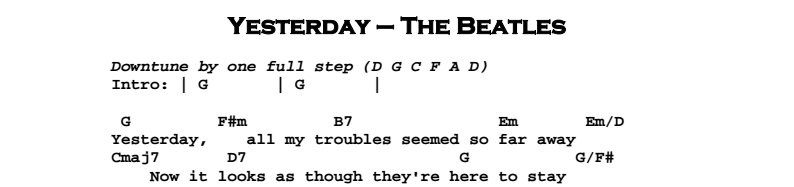 The Beatles Yesterday Jerrys Guitar Bar