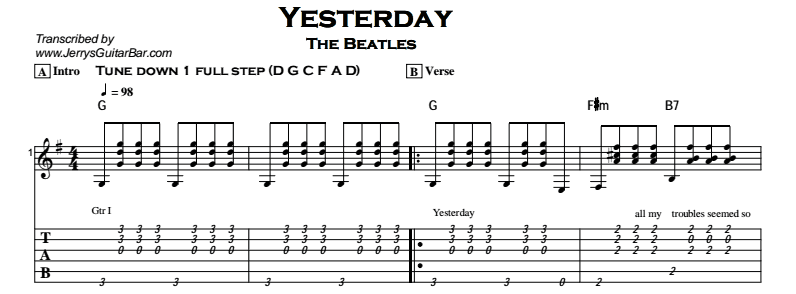 Beatles - Yesterday Tab
