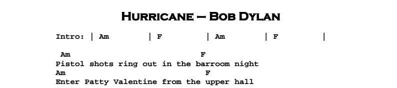 Bob Dylan - Hurricane Chords & Sonsheet