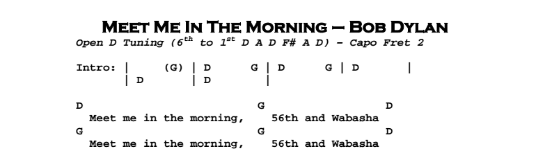 Bob Dylan - Meet Me In The Morning Chords & Songsheet