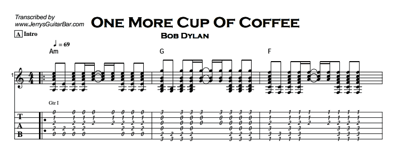 Bob Dylan - One More Cup Of Coffee Tab