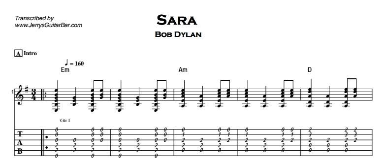 Bob Dylan - Sara Tab