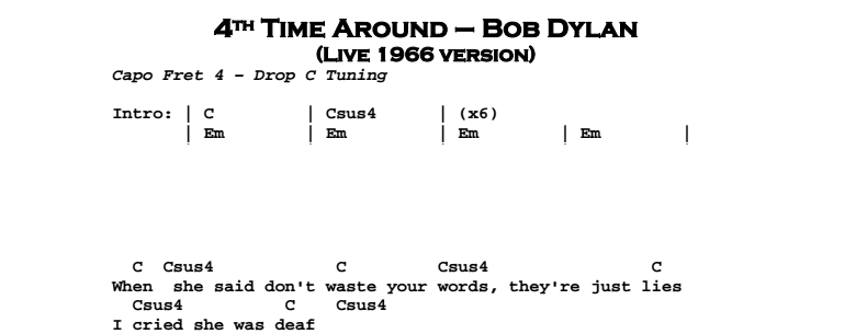 Bob Dylan – 4th Time Around Chords & Songsheet