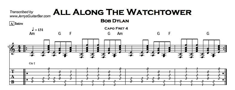 Bob Dylan – All Along The Watchtower Tab