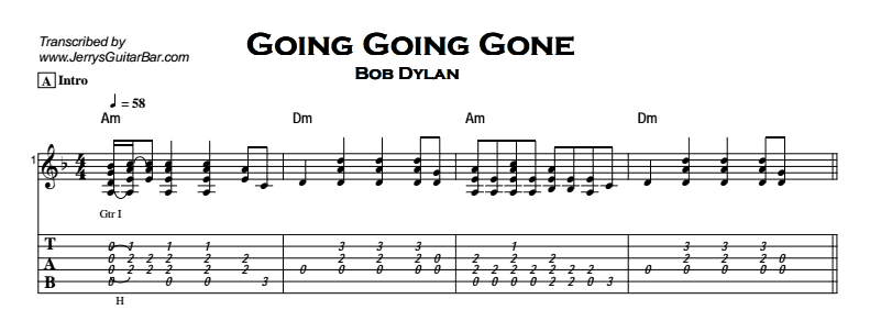Bob Dylan - Going Going Gone Tab