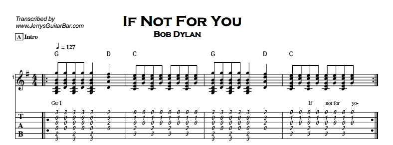 Bob Dylan – If Not For You Tab