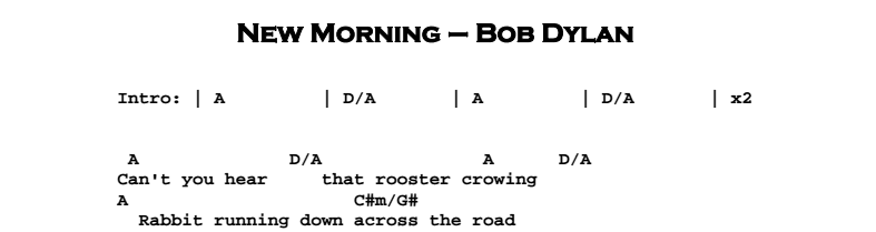 Bob Dylan – New Morning Chords & Songsheet
