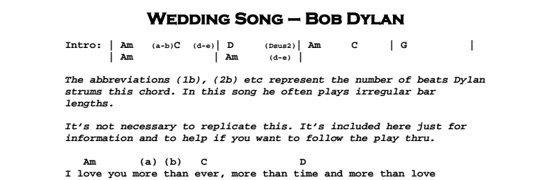 Bob Dylan – Wedding Song Chords & Songsheet