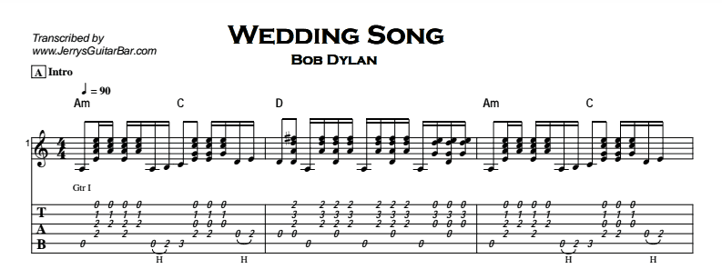 Bob Dylan – Wedding Song Tab
