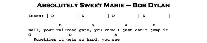 Bob Dylan – Absolutely Sweet Marie Chords & Songsheet