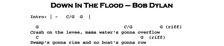 Bob Dylan – Down In The Flood Chords & Songsheet