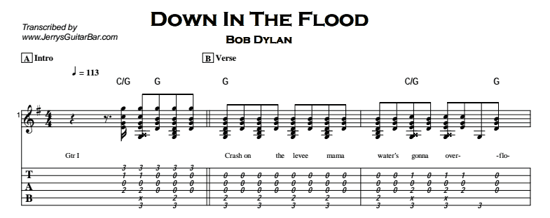 Bob Dylan – Down In The Flood Tab