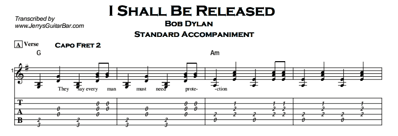 Bob Dylan – I Shall Be Released - Jerry\'s Guitar Bar