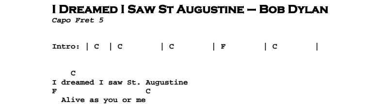 Bob Dylan - I Dreamed I Saw St Augustine Chords & Songsheet