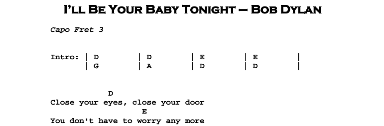 Bob Dylan – I'll Be Your Baby Tonight Chords & Songsheet