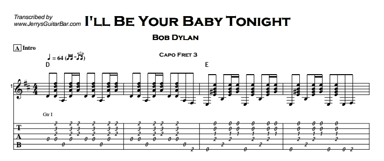 Bob Dylan – I'll Be Your Baby Tonight Tab