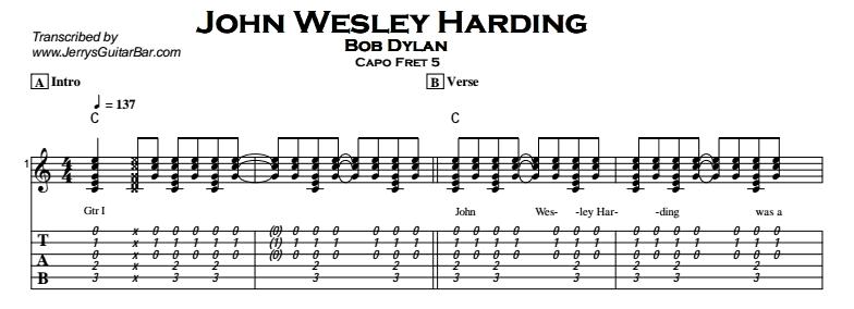 Bob Dylan – John Wesley Harding Tab
