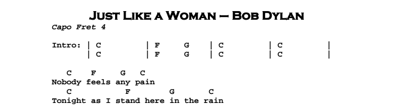 Bob Dylan – Just Like a Woman Chords & Songsheet