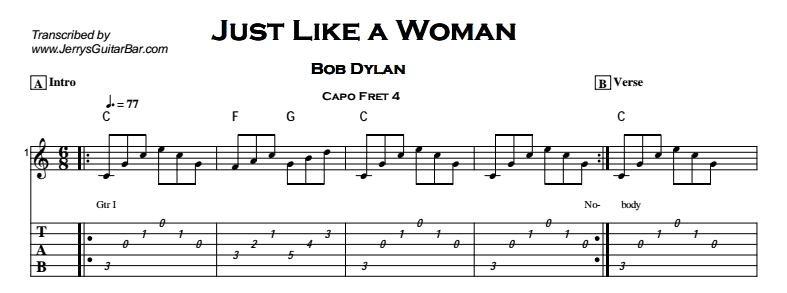 Bob Dylan – Just Like a Woman Tab