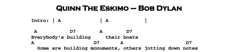 Bob Dylan - Quinn The Eskimo Chords & Songsheet