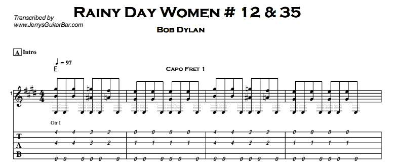 Bob Dylan – Rainy Day Women # 12 & 35 Tab