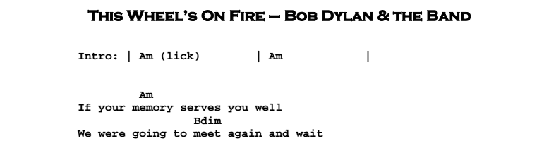 Bob Dylan – This Wheel's On Fire Chords & Songsheet