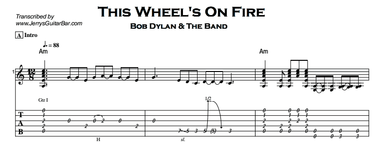 Bob Dylan – This Wheel's On Fire Tab