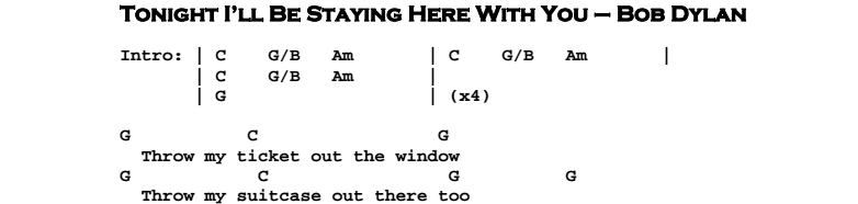 Bob Dylan – Tonight I'll Be Staying Here With You Chords & Songsheet
