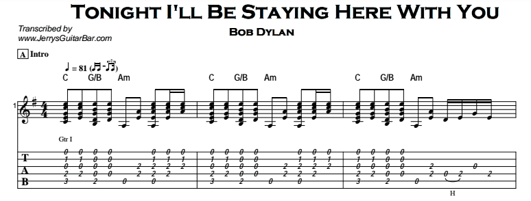 Bob Dylan – Tonight I'll Be Staying Here With You Tab