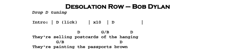 Bob Dylan – Desolation Row Chords & Songsheet