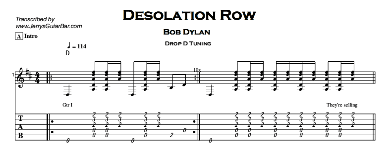 Bob Dylan – Desolation Row Tab